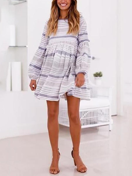 Maternity Round Neck Long Sleeve Stripe Dress