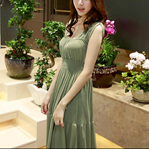 Maternity Sweet Square-Cut Pure Colourshort Sleeve Dress