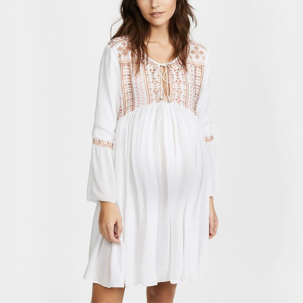 Maternity Fashion V Neck Bell Sleeve Inwrought Dress