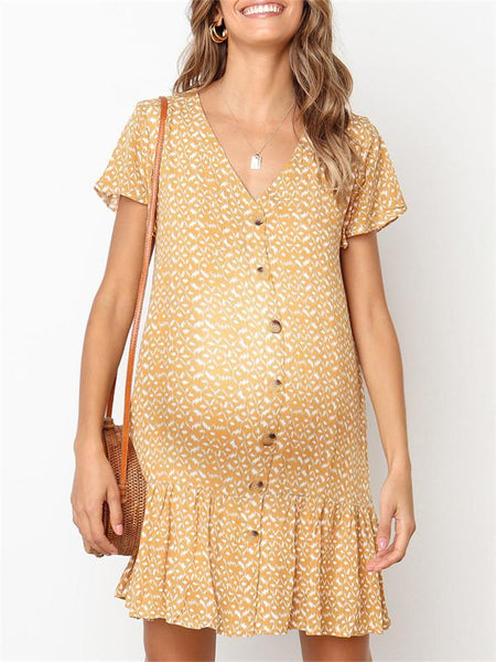 Maternity V-Neck Printed Button Ruffle Dress