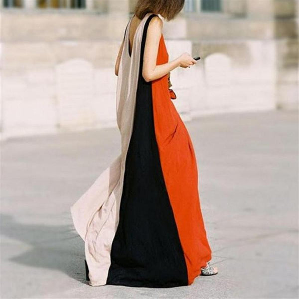 Maternity Colorblock Sleeveless Maxi Dress