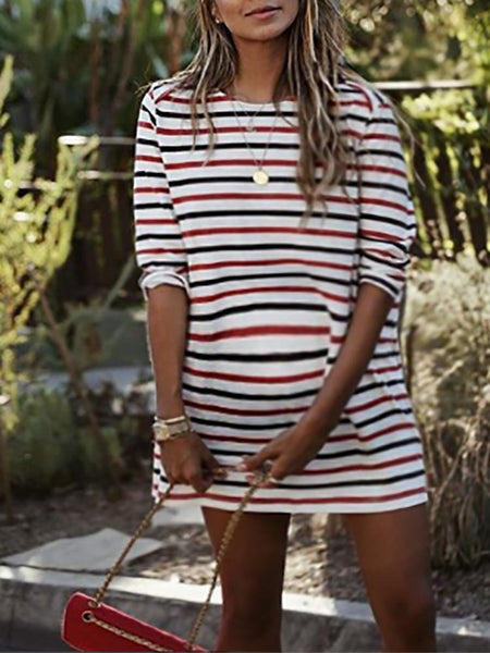 Maternity Casual Cotton Stripe Halflong Sleeve  Dress