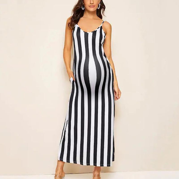 Maternity Casual Spaghetti Strap Striped Printed Dress
