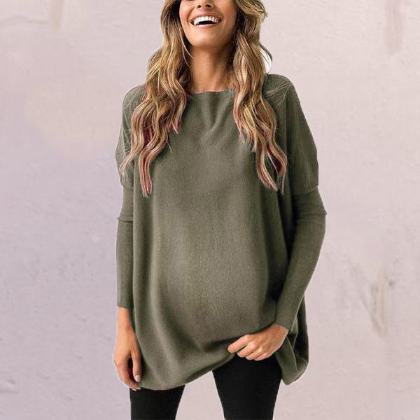 Maternity Pure Color Long Sleeve Sweater