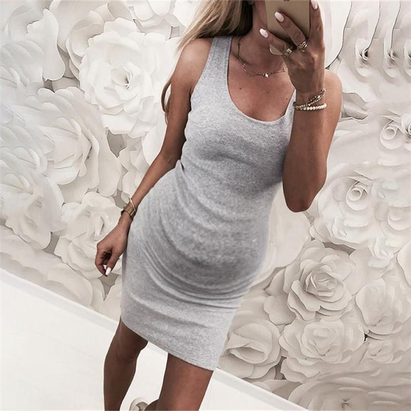 Maternity Solid Color Bodycon Vest Dress