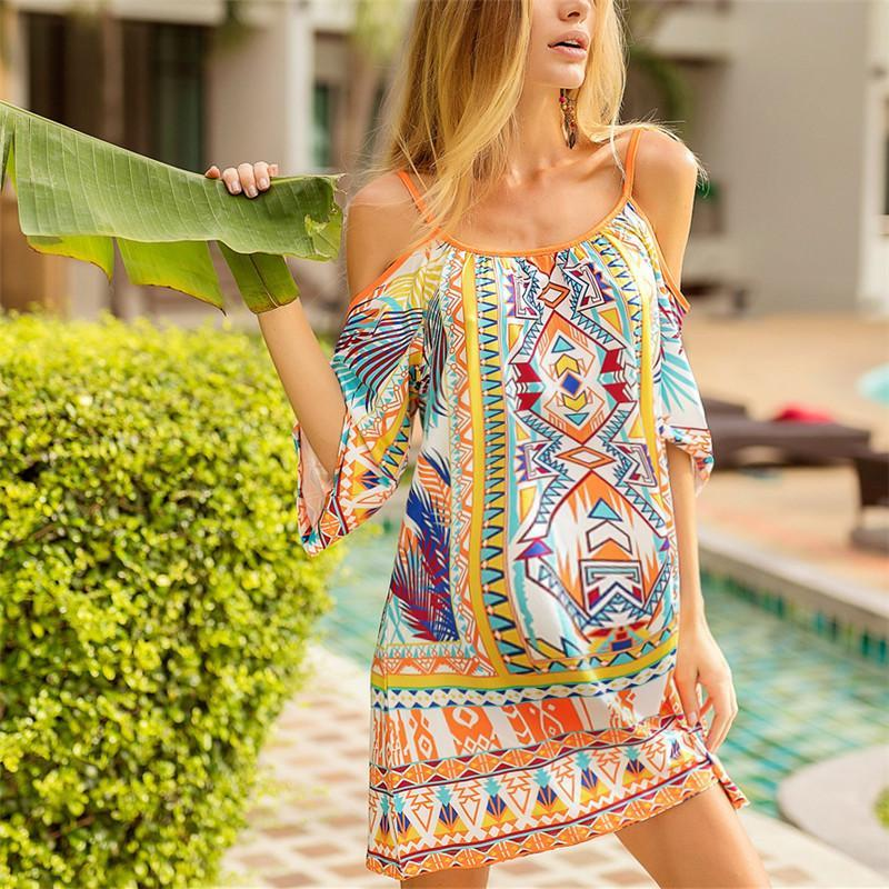 Maternity Beach Vacation Off Shoulder Sling Print Dress