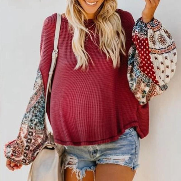 Maternity Long Sleeve Round Neck Sweater