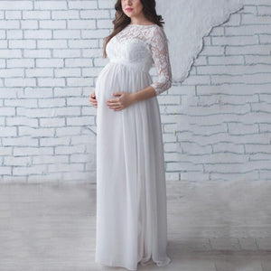 Maternity Casual Patchwork Long Sleeves Dress