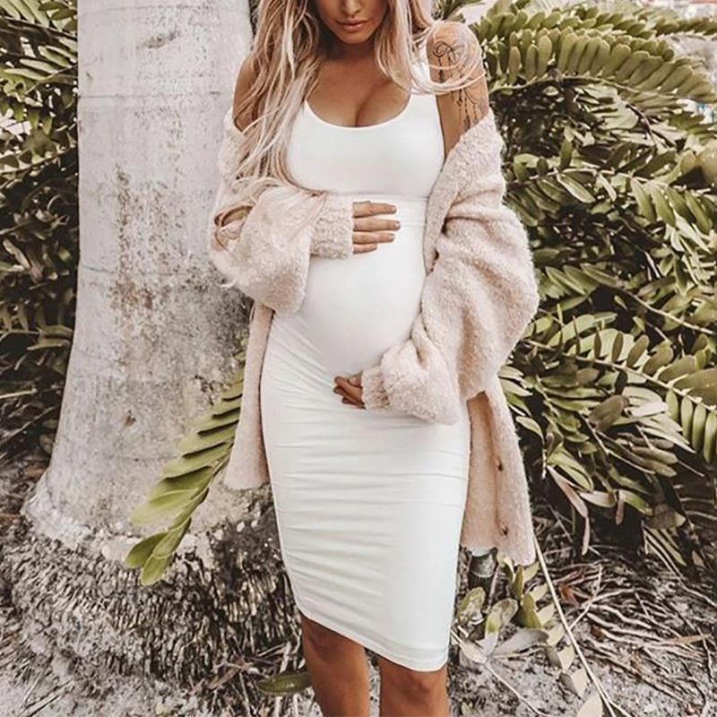 Maternity Casual Round Neck Pure Colour Jumper Skirt