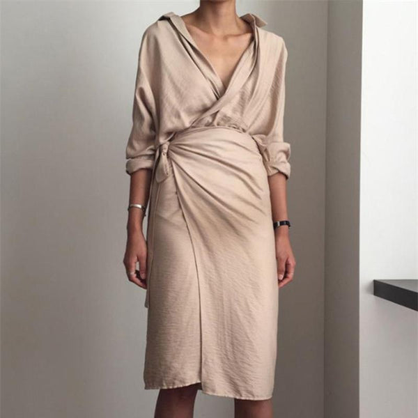 Maternity Autumn And Winter New V-Neck Long Sleeve Dress