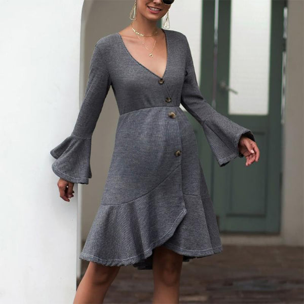 Maternity Sexy Ruffled Deep V Neck Pure Color Dress
