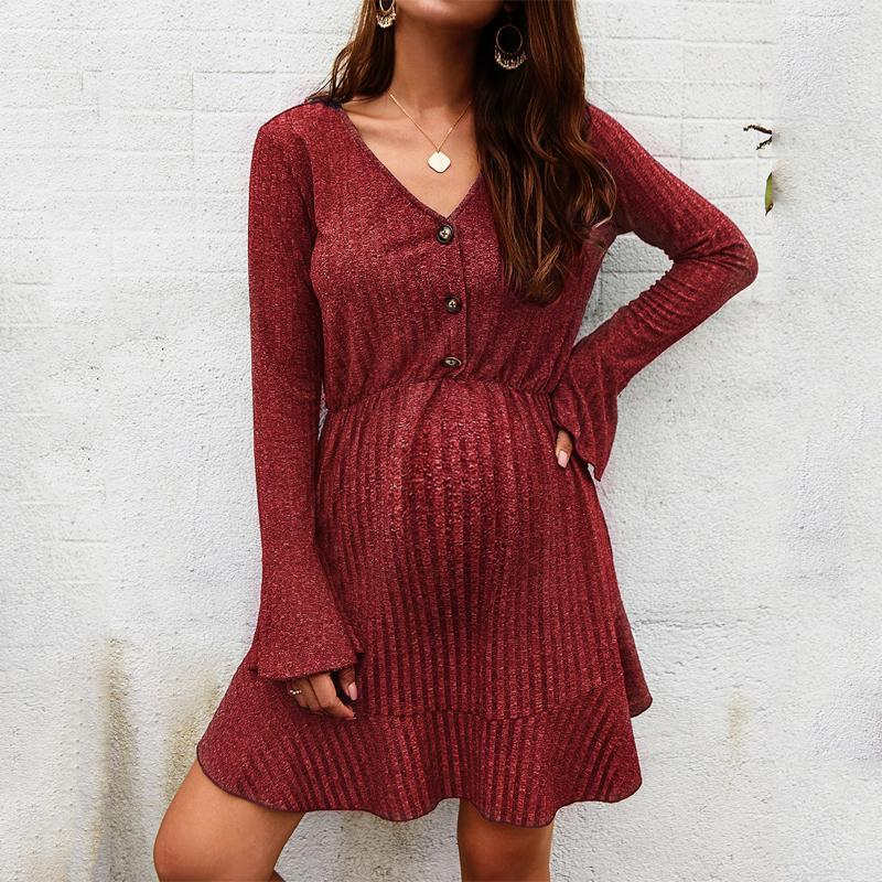 Maternity European And American Ruffled Waist Slimming Long Sleeve Dress