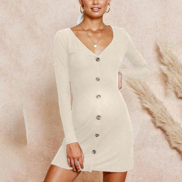 Maternity Fashion V-Neck Long Sleeve Plain Sheath Dress