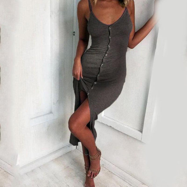 Maternity Sexy Sling Buttoned Split Dress