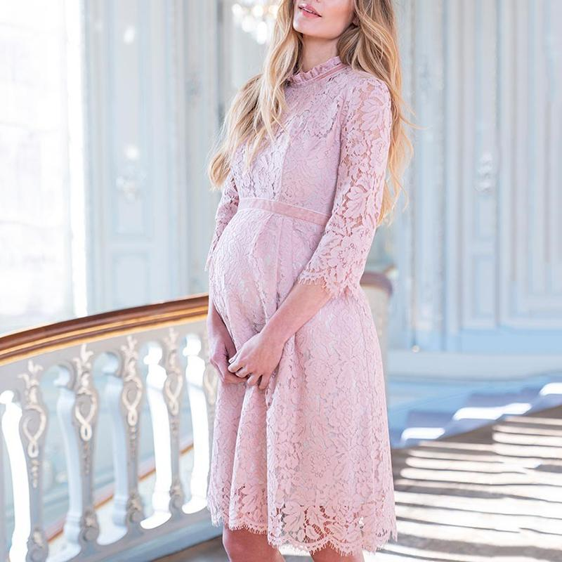 Maternity Elegant Stand-Up Lace Three-Quarter Sleeve Dress