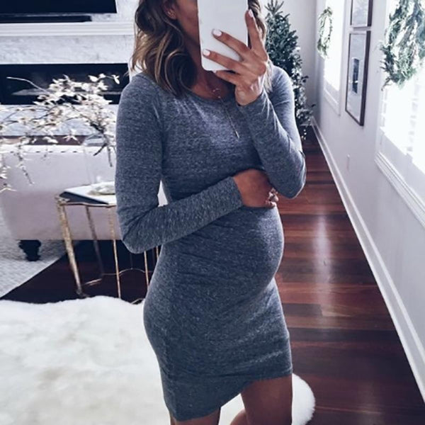 Maternity Casual Round Neck Solid Color Long-Sleeved Slim Dress