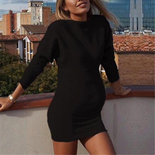 Maternity New Solid Color Long Sleeve Bodycon Dress