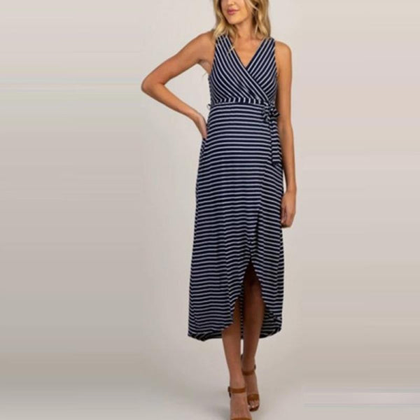 Maternity Casual V Neck Striped Sleeveless Dress