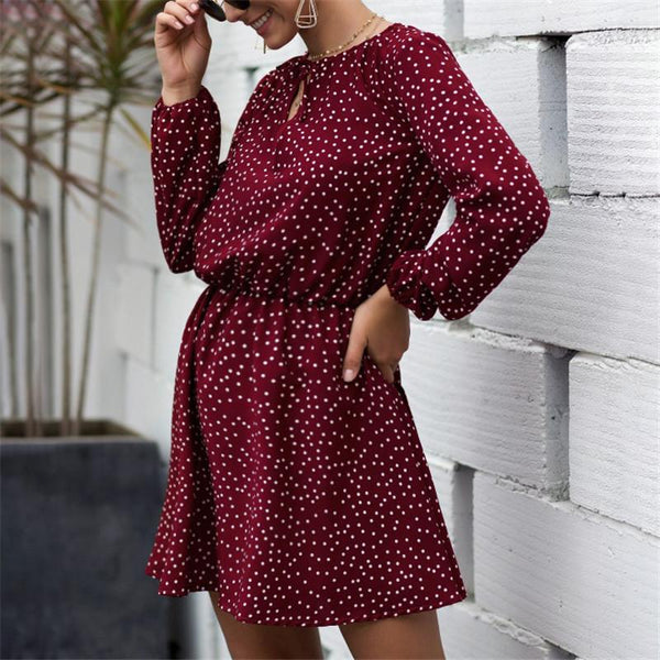 Maternity Women's Polka Dot Long Sleeve Casual Dress