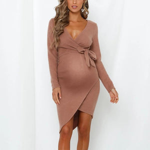 Maternity Long Sleeve Strap Dress