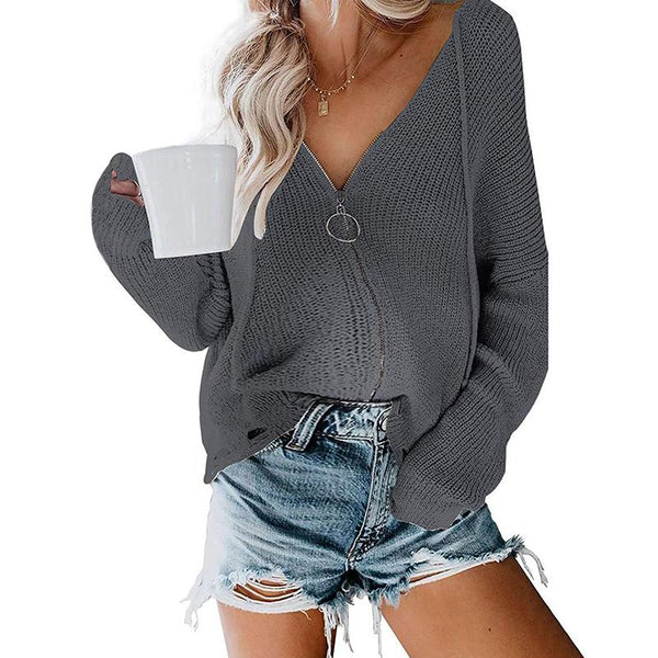 Maternity Hooded Zipper Loose Sweater