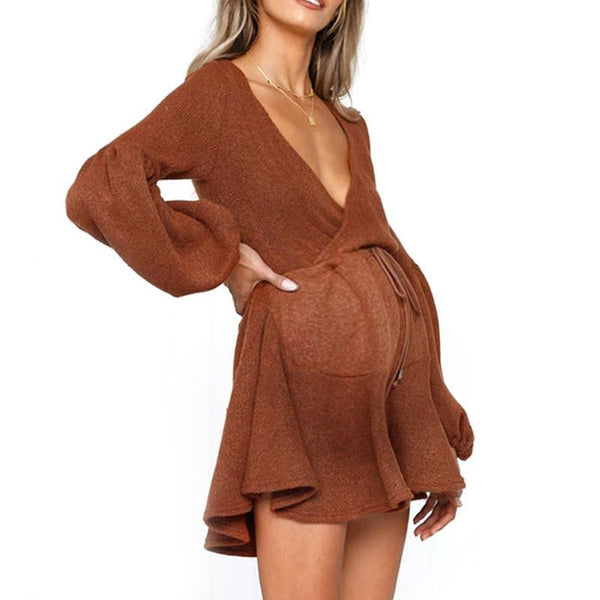 Maternity Deep V Puff Sleeve Strap Dress