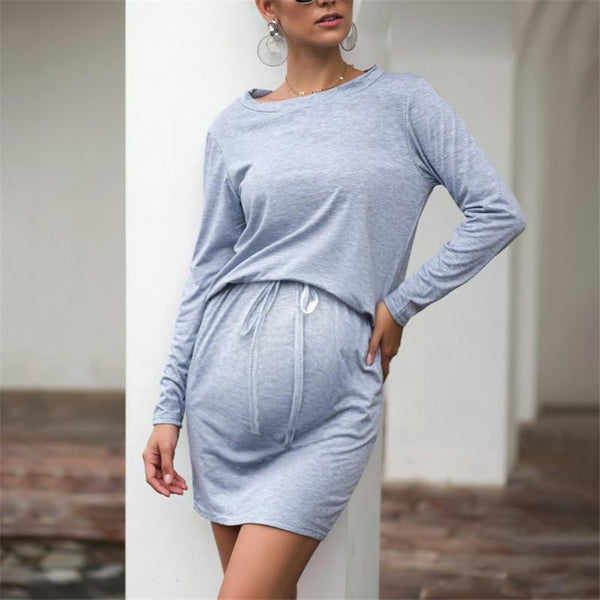 Maternity Round Neck Solid Color Long Sleeve Casual Dresses