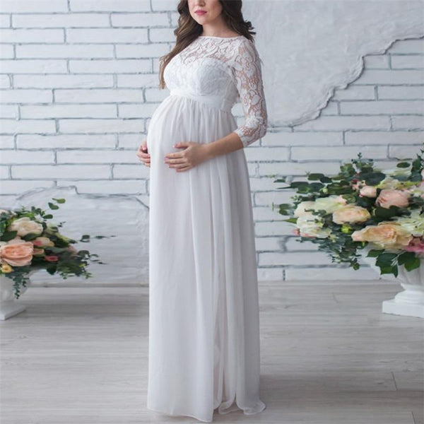 Maternity Round Neck Lace Stitching Nine-Point Sleeve Dress