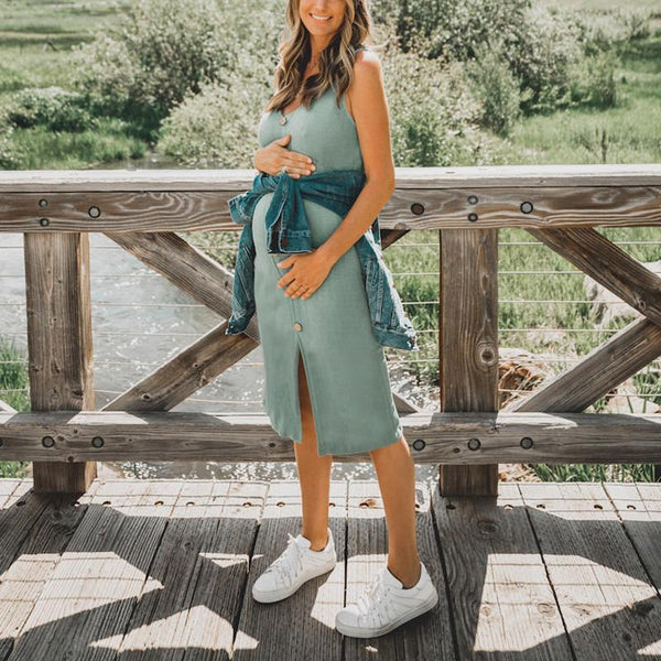 Maternity Casual Solid Color Sling Decorative Buckle Slim Dress