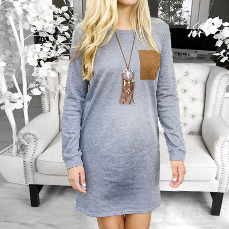 Maternity Cotton Long Sleeve Round Neck  Dress