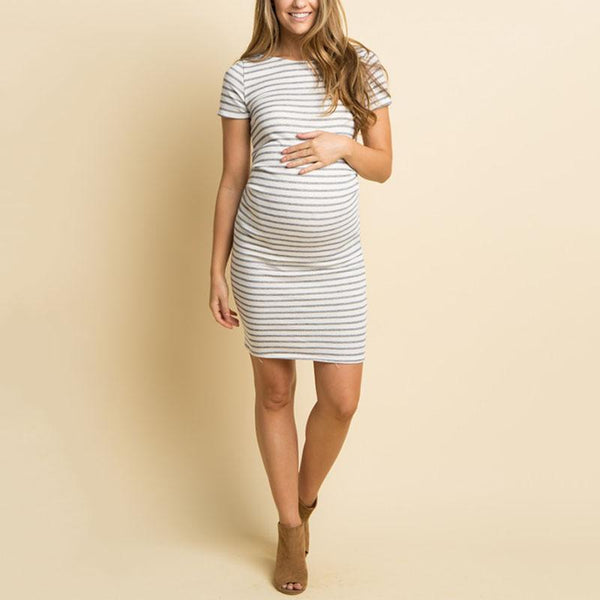 Maternity Casual Round Neck Stripe Dress