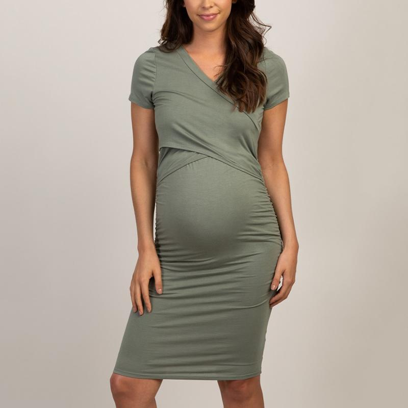 Maternity Casual Cross V-Neck Solid Slim Short Sleeve Dress