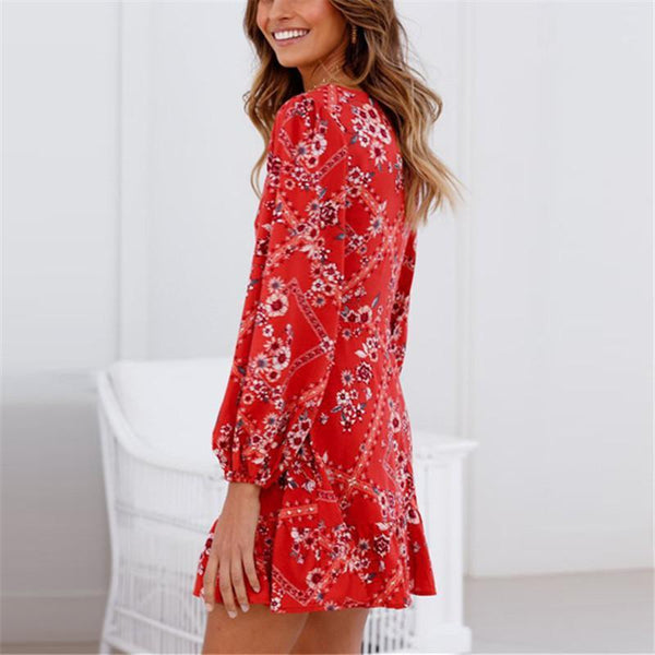 Maternity Printed V-Neck Cropped Sleeve Chiffon Dress