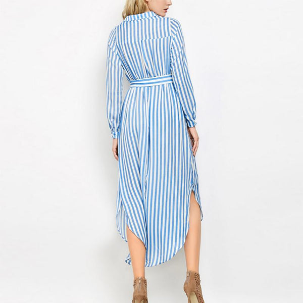 Maternity Striped Long Pocket Dress