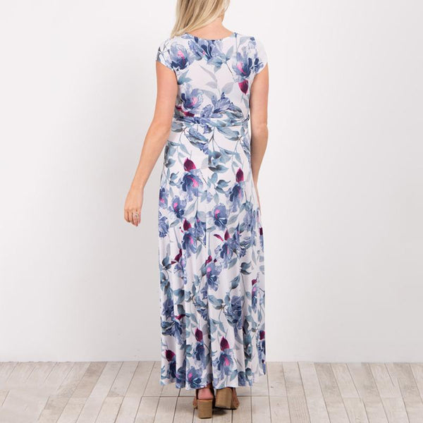 Maternity Elegant V-Neck Floral Print With Short-Sleeve Dress