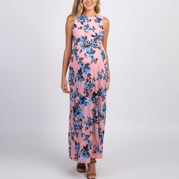 Maternity Round Neck Sleeveless Printed Dress