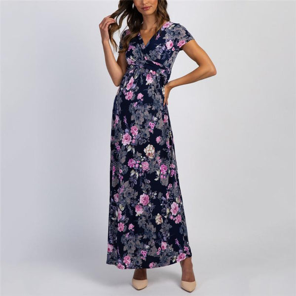 Maternity Casual Floral Printed Short Sleeve Dress