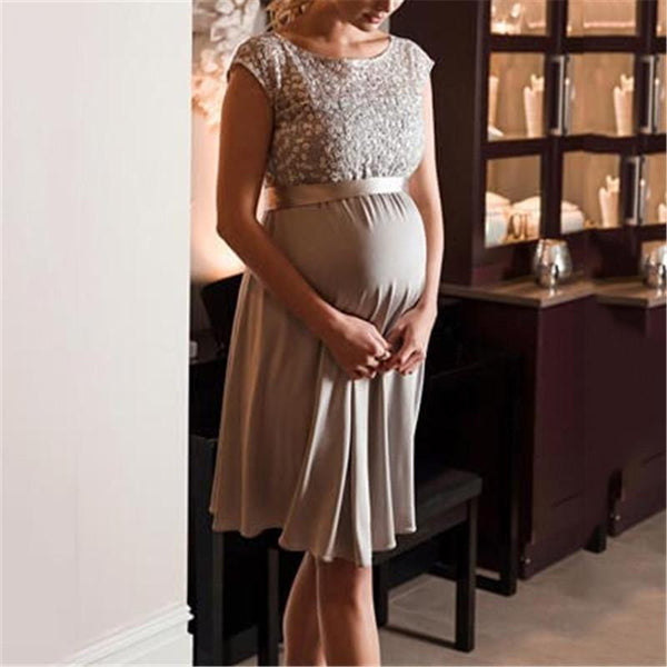 Maternity Casual Patchwork Round Neck Dress