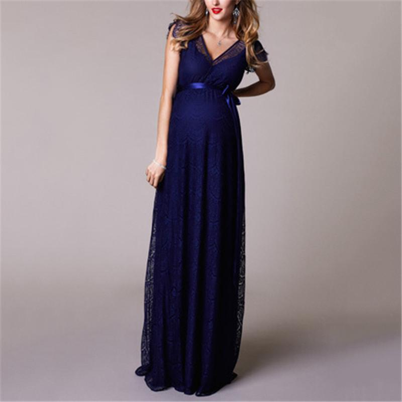 Maternity Sexy Pure Color V Neck Dress