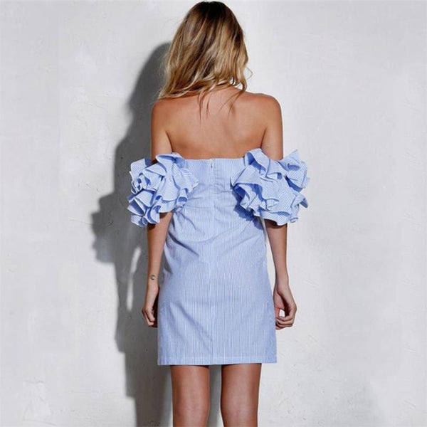 Maternity Sexy Off Shoulder Layered Ruffled Sleeve Dress