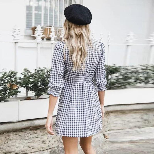 Maternity Sexy V-Neck Stretch Waist Plaid Dress