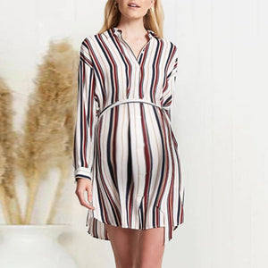 Maternity Casual Lapel Single Breasted Belt Shirt Striped Dress