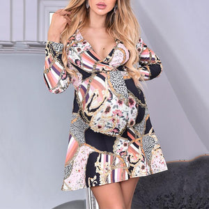 Maternity Sexy V-Neck Chain Abstract Print Long Sleeve Dress