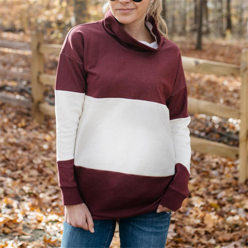 Maternity Color Block Long Sleeve Sweater