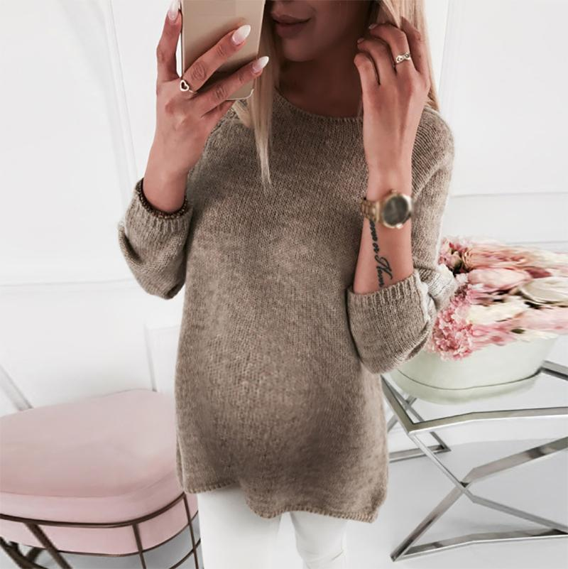 Maternity Brief Long Sleeve Pure Color Sweater