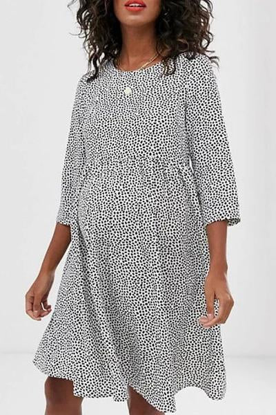 Maternity Casual Round Neck 3/4 Sleeves Polka Dot Dress