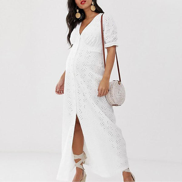Maternity Casual V Neck Single-Breasted Hollow Out Maxi Dress