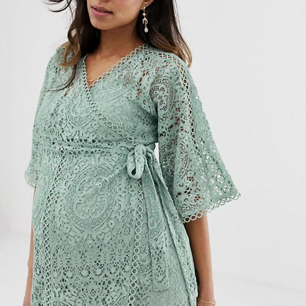 Maternity Fashion Halflong Sleeve Hollow Out Lace Dress
