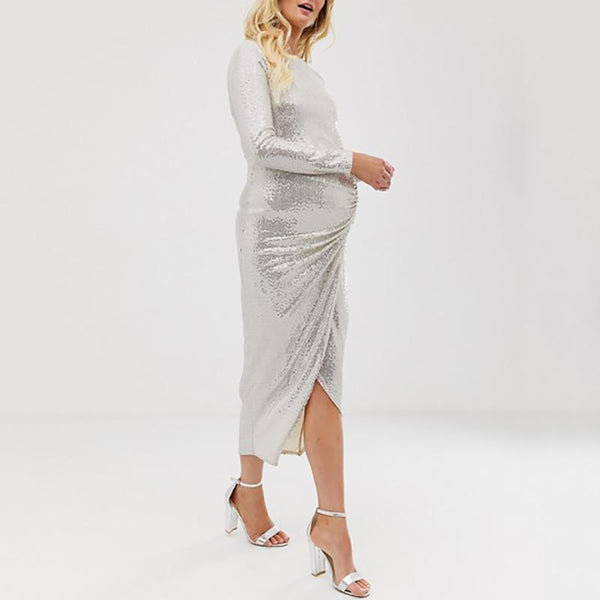 Maternity Fashion Crew Neck Silver Sequined Long Sleeve Irregular Dress