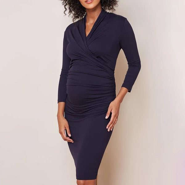 Maternity Casual Pure Colour Bracelet Sleeve Dress